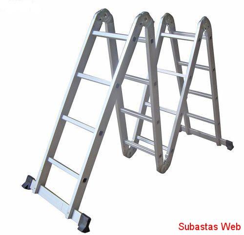 Escalera plegable articulada de aluminio 16 escalones a for Escalera de aluminio plegable