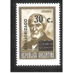 ARGENTINA 1975 CORREO ORDINARIO: BROWN REVALORIZADO MINT