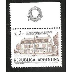 ARGENTINA 1983(1426 INSTITUTO SANMARTINIANO CON BORDE DE HOJ