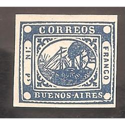 ARGENTINA 1858,  BARQUITO,  IN Ps,  AZUL, REIMPRESION