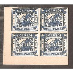 ARGENTINA 1858 BARQUITO  IN pS COLOR AZUL, CUADRITO REIMPRES