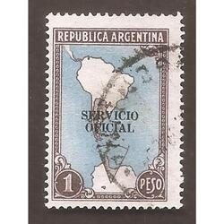 ARGENTINA 1951(MT512-348a) MAPA CON ANTARTIDA  SO  11mm  USA